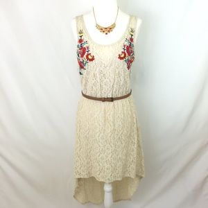 Xhilaration Light Beige Lace Hi-Lo Dress Medium